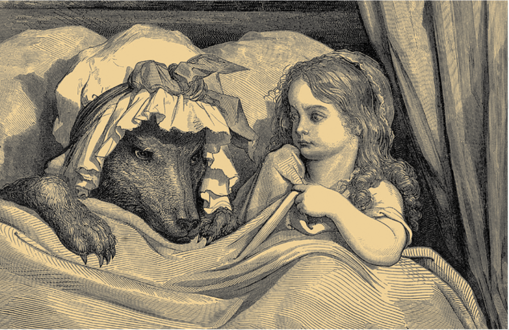 Red Riding Hood in bed with Big Bad Wolf